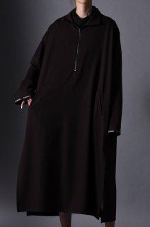 Wool Gabardine Half Zip Long Pullover brown