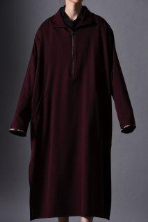 Wool Gabardine Half Zip Long Pullover wine