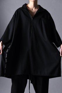 Wool Gabardine Half Zip Pullover black