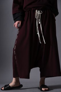 Wool Gabardine Sarrouel Line Big Pants wine