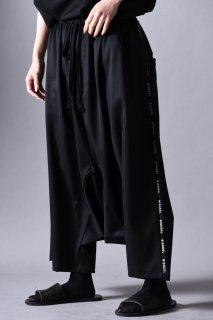 Wool Gabardine Sarrouel Line Big Pants black