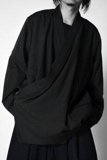 Wool Gabardine KIMONO Drape Jacket dark khaki