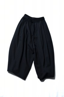 Wool Gabardine 3tuck Big Pants black