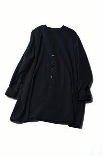 Wool Gabardine 01 Rapel Long Shirt black