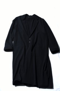 Wool Gabardine Liberty Long Jacket Coat black