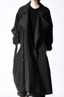 Wool Gabardine Big Lapel Over Trench Coat dark khaki