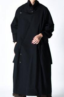 Wool Gabardine Big Lapel Over Trench Coat black
