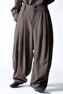 Wool Gabardine 10 Tuck Pants mocha