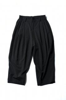 Wool Gabardine 10 Tuck Pants dark khaki