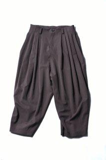 Wool Gabardine 10 Tuck Big Pants mocha