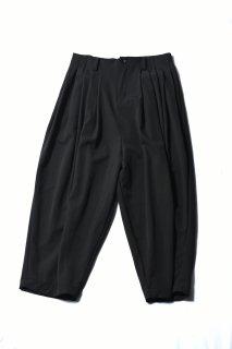 Wool Gabardine 10 Tuck Big Pants dark khaki