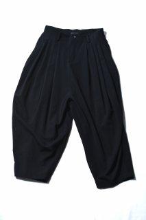 Wool Gabardine 10 Tuck Big Pants black