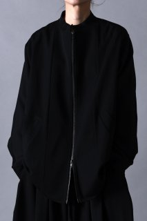 Wool Gabardine Dolman Sleeve Stand Jacket