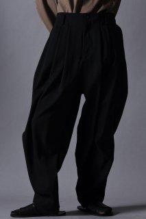 Wool Gabardine 4 Tuck Pants black