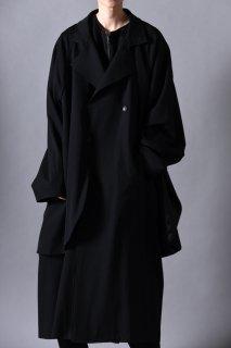 Wool Gabardine Layered Big Trench Coat black
