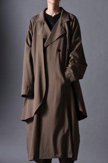 Wool Gabardine Layered Big Trench Coat beige
