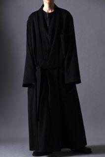 Wool Gabardine KIMONO Long Coat black
