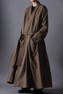 Wool Gabardine KIMONO Long Coat beige