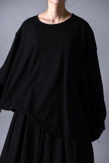 Wool Gabardine Cut Off Pullover black