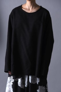 Woven Wool Fabric Cut Off Pullover black