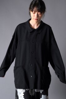 Wool Gabardine Cut Off Shirt Jacket black