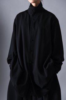 Wool Gabardine Stand Collar Big Shirts Blouson black