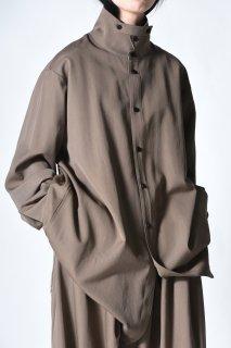 Wool Gabardine Stand Collar Big Shirts Blouson beige