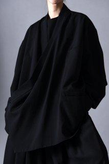 Wool Gabardine KIMONO Drape Jacket black