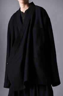 Woven Wool Fabric KIMONO Drape Jacket  black