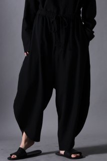 Wool Gabardine Kung-Fu Pants black