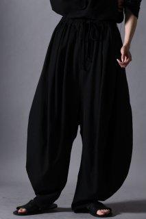 Wool Gabardine 3 Tuck Circle Pants black