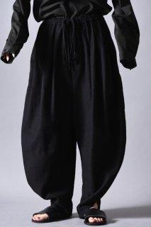 Woven Wool Fabric 3 Tuck Circle Pants black