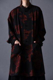 Dyed Twill Flower China Big Shirt black×red