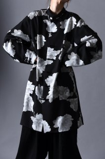 Dyed Twill Flower China Big Shirt black×white