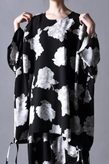 Dyed Twill Flower Balloon Big Pullover black×white