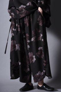 Dyed Twill Flower Big China Pants black×gray
