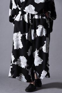 Dyed Twill Flower Big China Pants black×white