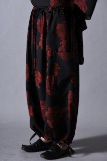 Dyed Twill Flower Goto-Gi Pants black×red