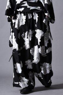 Dyed Twill Flower Goto-Gi Pants black×white