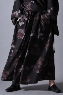 Dyed Twill Flower KIMONO Pants black×gray