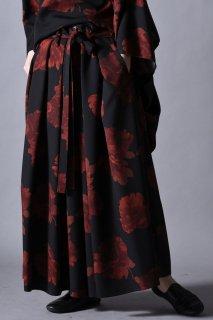 Dyed Twill Flower KIMONO Pants black×red