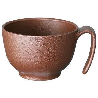 木目食器シリーズ 木目持ちやすい茶碗 ハンドル付 370ml ブラウン 茶色/NBLS1H_383571