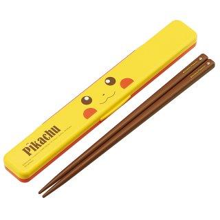 ポケモン ピカチュウ フェイス 音が鳴らない 箸・箸箱セット 箸18.0cm/ABC3_384349