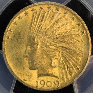 アメリカ United States インディアンヘッド 【発行枚数184,863枚】 10ドル金貨 1909年 PCGS MS62