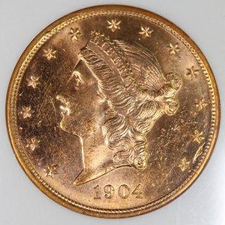 アメリカ United States of America リバティヘッド ダブルイーグル 20ドル金貨 1904年 NGC MS63