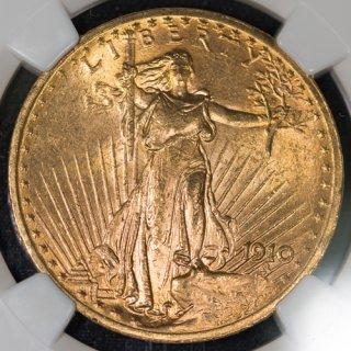 アメリカ United States of America セントゴーデンス ダブルイーグル 20ドル金貨 1910年 NGC MS64
