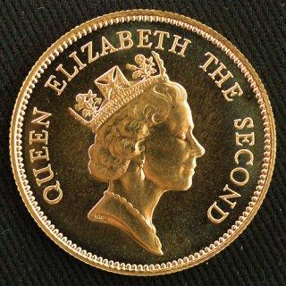 中国 China 香港 エリザベス女王訪問記念 1000ドル金貨 プルーフ 1986年