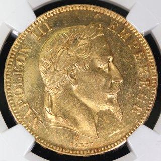 フランス France ナポレオン3世 Napoleon� 月桂冠 100フラン金貨 1867年 NGC UNC DETAILS