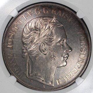 オーストリア Austria フランツ・ヨーゼフ1世 南部鉄道完成記念 トリエステ 2ターラー銀貨 1857年 UNC DETAILS