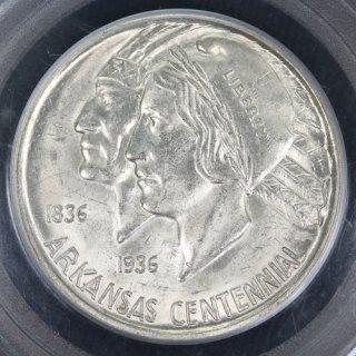 アメリカ United States of America アーカンソー州成立100周年 50セント銀貨 1936年D PCGS MS63